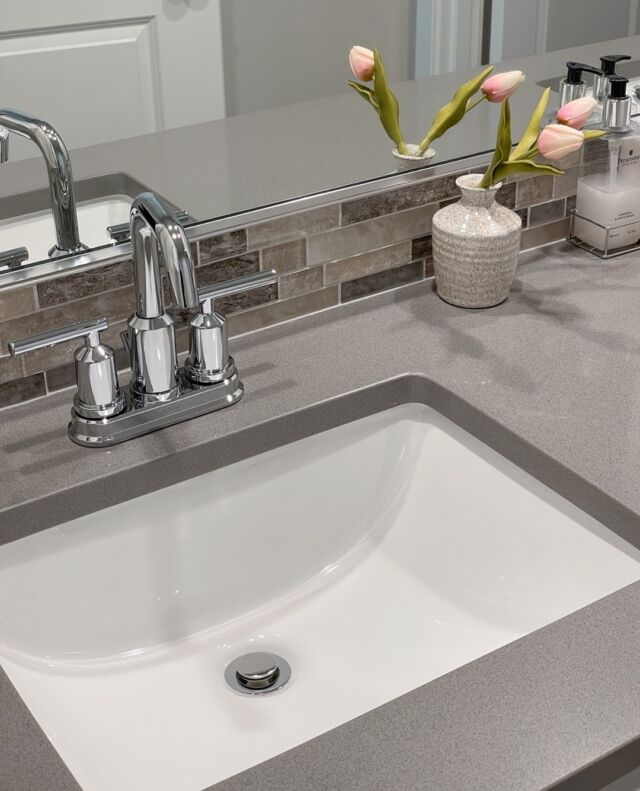 A few weeks ago we shared the black version of this Gibson Moen faucet from one of our Oregon communities. This week check out the chrome edition. Which one is your favorite? 💭   See more Oregon model homes at the link in our bio.